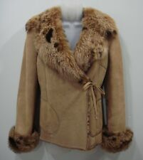 $3600 RIZAL Light Brown Suede Shearling Jacket Size IT 42 / US 6