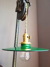 "Green Porcelain Enamel Shade: 10.25"" Flat Industrial Style Metal, 2-1/4"" fitter"
