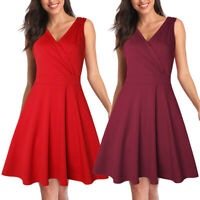 Women Vintage Sleeveless Wrap V-Neck A-Line Swing Party Cocktail Summer Dresses