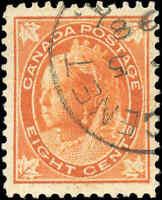 Used Canada 1899 8c F-VF Scott #72 Queen Victoria Leaf Issue Stamp