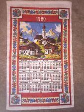 New listing 1980 Vintage Cloth Calendar Village Linen Excellent Condition Floral Tea Towel