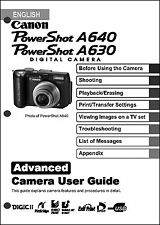 Canon Powershot A630  A640 Digital Camera User Guide Instruction  Manual
