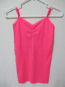 (1) NWT Victoria's Secret Bright Neon Pink Nylon Layering Cami/Tank S FREE SHIP