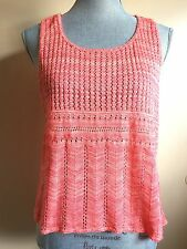 Sweet n Sinful Coral Scoop Neck Knit Boho Tank with Curved High Low Hem Sz L