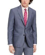 $525 DKNY Men's Slim-Fit Stretch Italian Wool/Mohair Suit Jacket -Blue- 44R