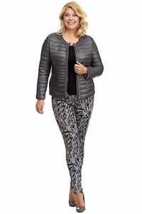 Damen Jacke Übergangsjacke Blazer Strass - Perlen Besatz Steppjacke anthrazit 50