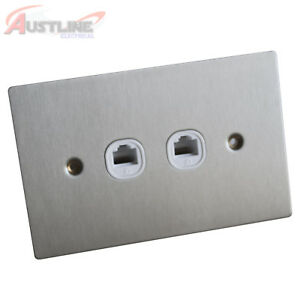 RJ45 Cat 6 Cat6 2Port Flat Brushed Stainless Steel Wall Plate Clipsal Style Slim