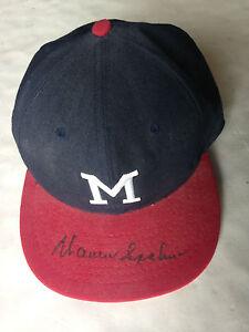 Warren Spahn signed Milwaukee Braves Cooperstown baseball hat auto HOF JSA COA
