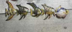Cloisonne Puffy Tropical Fish Enamel Pendants Lot of 5