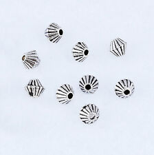 100pcs Stripe Cone Beads Tibetan Silver Charm Spacer Jewelry Finding 3.5mm