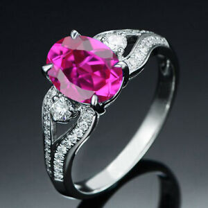 2.15Ct Oval Cut Natural Pink Tourmaline Engagement Ring In 925 Sterling Silver
