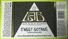 SWEET-NOTHING HONEY WINE Mead STICKER LABEL, Liquid Alchemy, Wilmington DELAWARE