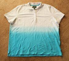 NEW! RALPH LAUREN ACTIVE WOMENS Blue Tie Dye SHORT SLEEVE PIQUE POLO SHIRT 3X