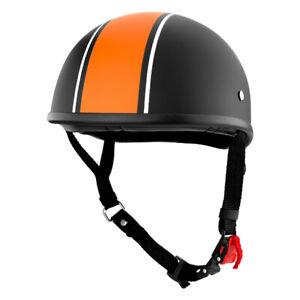 Beanie Cruiser Motorcycle Half Helmet Matte Black With Orange Stripe