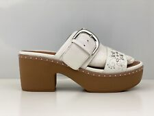Fitflop Pilar Womens Flower Stud White Leather Platforms Clogs UK Size 6