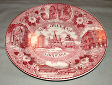 Vintage New Orleans Louisiana Staffordshire Transferware Figural Souvenir Plate