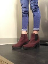 Womens Vagabond Grace Side Zip Boot Wine Nubuck Ankle Boots UK Size 4