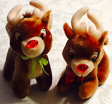 Lot of 2 RUDOLPH the Red Nosed Reindeer Plush 80's 1989 APPLAUSE Promo DURACELL