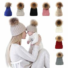 Women Winter Beanie Hat Knitted baby Ladies Fashion Large Pom Pom Gifts