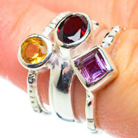Garnet, Amethyst, Citrine 925 Sterling Silver Ring Size 6.25 Jewelry R51974F