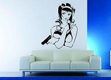 Wall Decor Vinyl Sticker Decal Gun Agent Mafia Woman Anime Hero Sexy Hot Girl