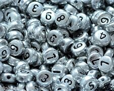 100pcs Flat Round Silver Numbers Acrylic Beads 7mm