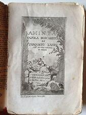 "LIBRO ANTICO BROSSURE ORIGINALE ""AMINTA FAVOLA BOSCARECCIA "" 1780"