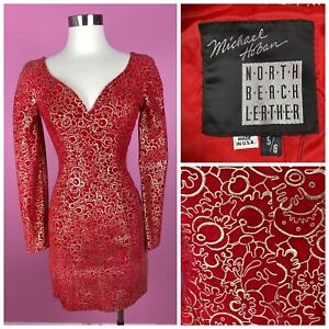 Custom 1990s 90s NORTH BEACH Red Suede Leather Long Sleeve Gold Painted Dress