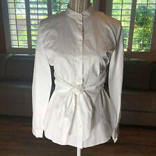 TIBI Women's White Shirt Long Sleeve Button Up Belt Blouse, Size 2