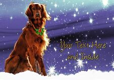 IRISH RED SETTER CHRISTMAS CARD - Personalised + illustrated inside + out