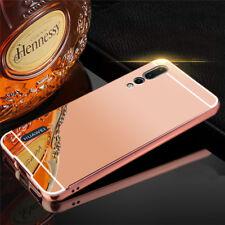 pour Huawei P20 Pro Miroir Pare-chocs en aluminium 2 pièces rose