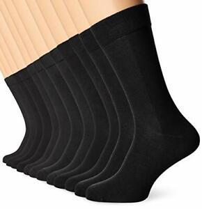 FM London Men's Bamboo Socks, Black (Black 01), 43-46 (Pack of 12)