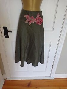 Coast Green Beaded Linen & SILK Lined Skirt, UK 12, New Without Tags REDUCED!