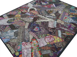 Quilt Patchwork Brown Twin Handmade Bed cover Bedspread India Floral Paisley B2