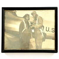 Vintage 1943 NAS Naval Air Station Ottumwa Iowa Airmen Framed 8x10 Photo WWII
