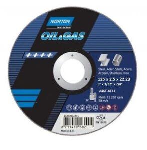 "25 x Norton Oil & Gas Cutting Discs 125 x 2.5 22.23  A46T BF41-5"" x 3/32"" x 7/8"""