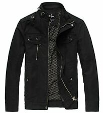 Wantdo Mens Cotton Stand Collar Lightweight Front Zip Jacket US X-Large Black
