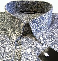 Mens Shirt Navy White Paisley Men's Button Down Long Sleeve Cotton Relco S-3XL