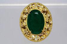 $20,000 11.56Ct Natural Emerald & Diamond Ring 18K