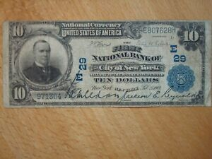 1902 FIRST NATIONAL BANK CITY OF NEW YORK $10 $10.00 CURRENCY NOTE 29 NICE VG/F