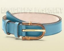 GUCCI blue 36-90 pebbled Leather BAMBOO logo engraved Buckle belt NWT Auth $395!