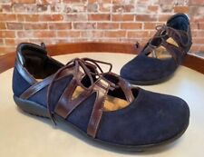Naot Navy Blue Suede Timu Comfort Lace-up Flats Shoe 38 7 NEW