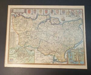 Vintage Printed Map Of Kent From a By John Speed 1612; on Veneer Sheet