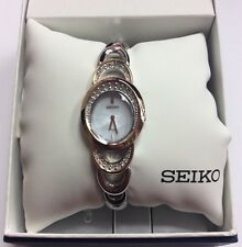 SEIKO Women's Solar Two-Tone Rose Gold Swarovski Crystals MOP Dial WATCH SUP306