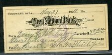 US FIRST NATIONAL BANK OF WOODWARD, OKLAHOMA CANCELLED CHECK 11/21/1927