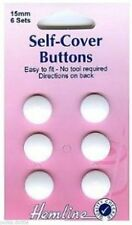 15mm Self Cover Buttons - 6 Sets Hemline 475.15