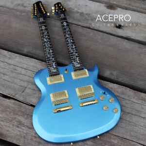 Metallic Blue Acepro Double Neck Electric guitar Abalone custom stem Inlays