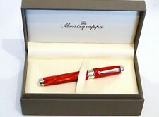 MONTEGRAPPA EMBLEMA ROLLERBALL PEN IN RED CELLULOID WITH SILVER 925 TRIM - NEW