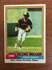 1981 Ozzie Smitth Topps Baseball Card # 207 Record Breaker St. Louis Cardinals