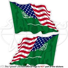 USA United States America-SAUDI ARABIA S.Arabian Flying Flag 75mm Stickers x2